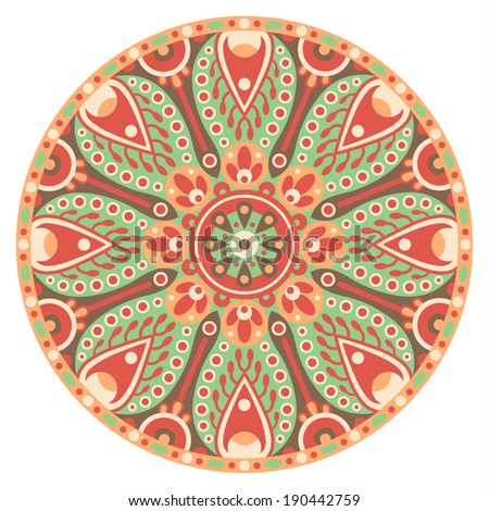 vector illustration of traditional indian orient element-colored ornamental mandala - stock vector