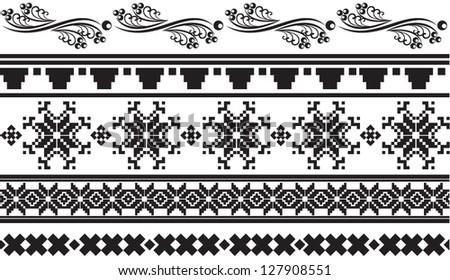 Vector illustration of traditional Ukrainian patterns - stock vector