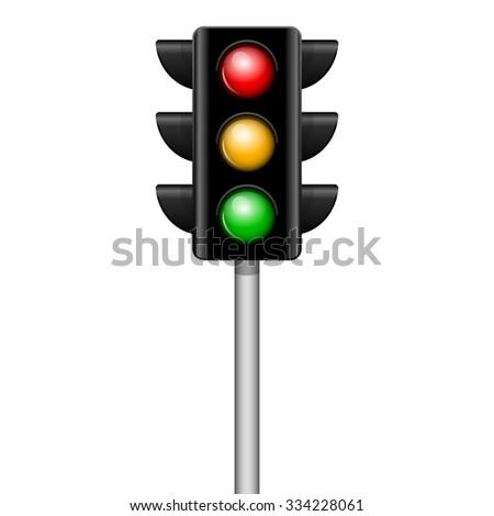 Vector illustration of traffic light - stock vector