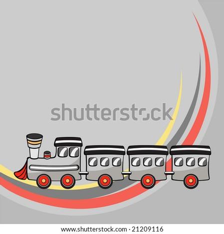 Vector illustration of  Transport Cartoon  . Little funny train . - stock vector