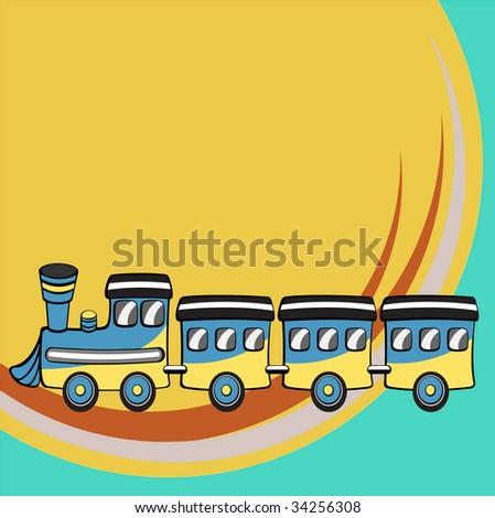 Vector illustration of Transport Cartoon. Little retro funny train - stock vector