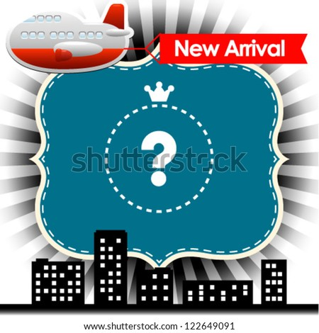 Vector illustration of transport with new arrival sign - stock vector