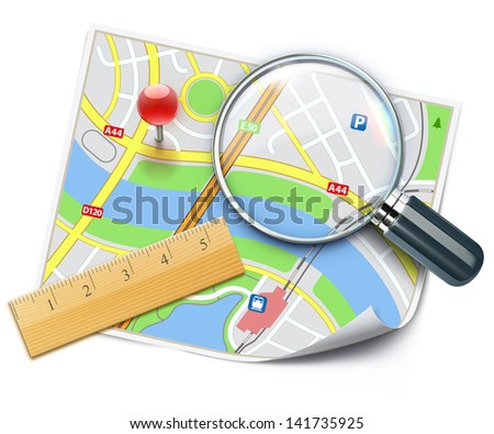 Vector illustration of travel concept with city street map, wooden ruler and magnifying glass over it - stock vector