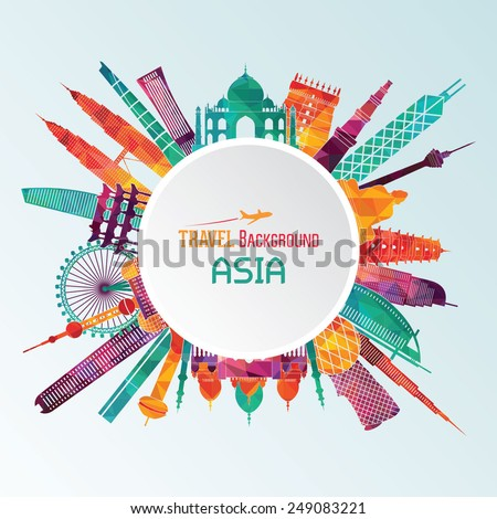 Vector illustration of travel famous monuments of Asia - stock vector