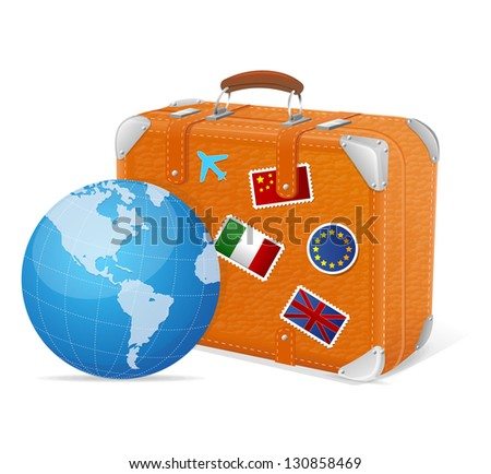 Vector illustration of traveling element baggage and globe - stock vector