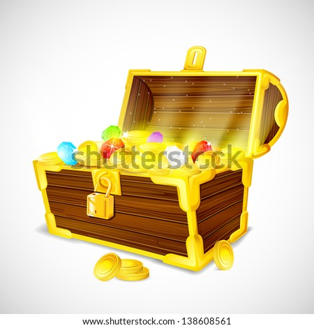 vector illustration of treasure chest full of gold coins and gems - stock vector