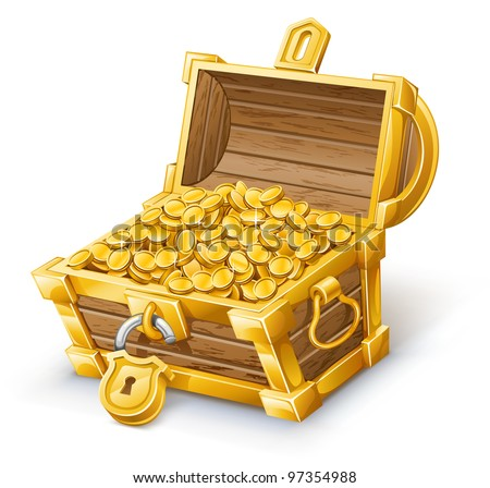 Vector illustration of treasure chest on white background. - stock vector