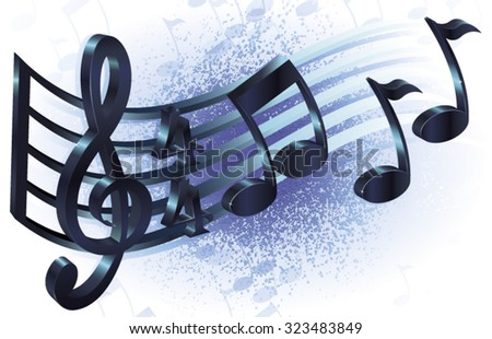 Vector illustration of treble clef and notation system with grungy background. - stock vector