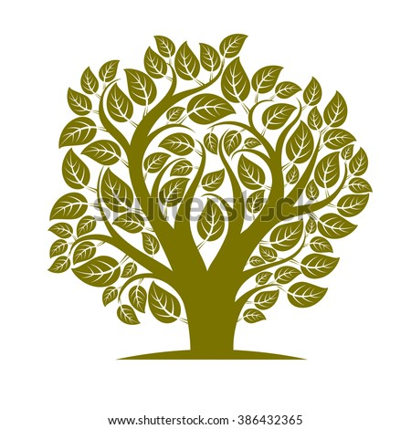 Vector illustration of tree with leaves and branches in the shape of heart. Your text here. - stock vector