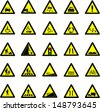 Vector illustration of triangle black and yellow road signs collection - stock vector