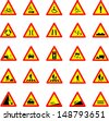 Vector illustration of triangle red and yellow road signs collection - stock vector