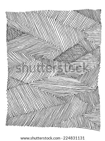 Vector illustration of triangle striped hand drawn image. Black and white freehand drawing. - stock vector