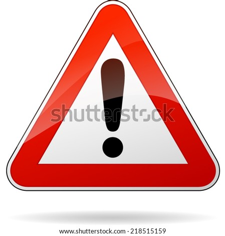 Vector illustration of triangle traffic sign for warning - stock vector