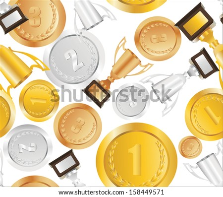 vector illustration of Trophy cups and medals seamless background