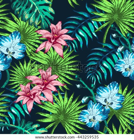 Vector Illustration of tropical Flowers and Palm in Sketch Style for Design, Website, Background, Banner. Doodle Summer Plant Element Template in color. Beach Botany Seamless Pattern Popart - stock vector