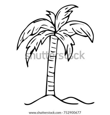 Vector Illustration Tropical Palm Tree Crown Stock Vector 752900677
