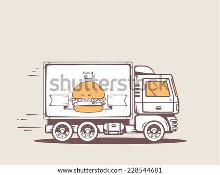 Vector illustration of truck free and fast delivering big burger to customer. Line art design for web, site, advertising, banner, poster, board and print. - stock vector