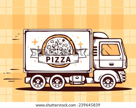 Vector illustration of truck free and fast delivering pizza to customer on pattern background. Line art design for web, site, advertising, banner, poster, board and print. - stock vector