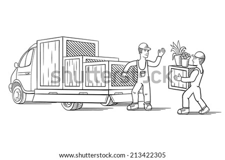 Vector illustration of truck with boxes for moving or relocation with moving man carrying boxes - stock vector