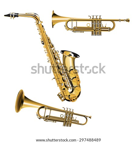vector illustration of trumpet in different projections with silver and gold items Saxophone - stock vector
