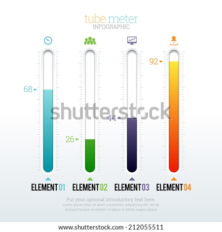 Vector illustration of tube meter infographic elements. - stock vector
