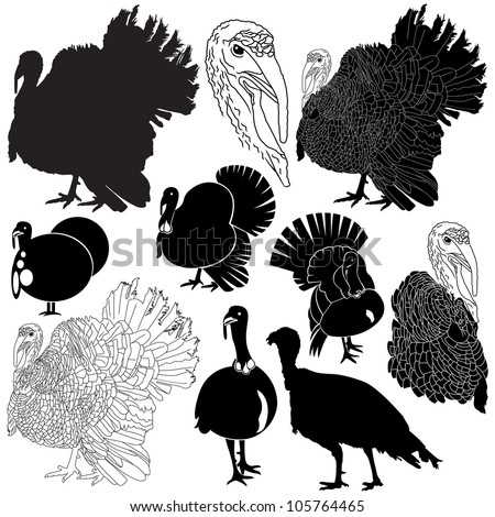 Vector illustration of turkey silhouettes set. - stock vector