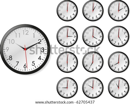 Vector illustration of twelve views of clock with twelve different hours plus one second - stock vector