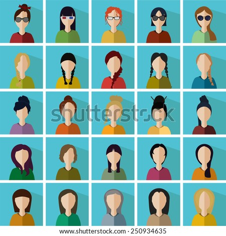 vector illustration of twenty-five different icons in the form of women - stock vector
