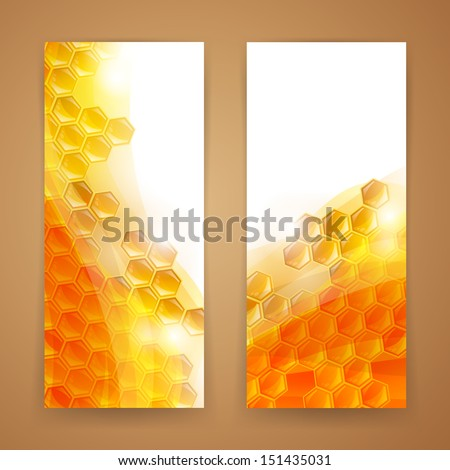 Vector Illustration of Two Abstract Honey Banners - stock vector
