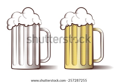 Vector illustration of two beer glasses in engraved style  - stock vector