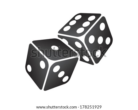 Vector illustration of two black dice - stock vector