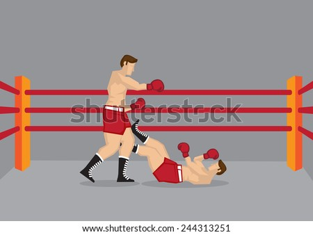 Vector illustration of two boxers in boxing ring and one of them knocked out on the floor.  - stock vector
