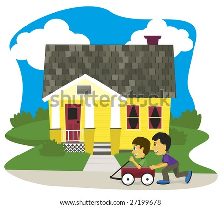 Vector illustration of two boys playing in a wagon.