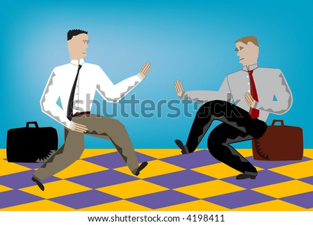 Vector illustration of two business men doing battle in the workplace.