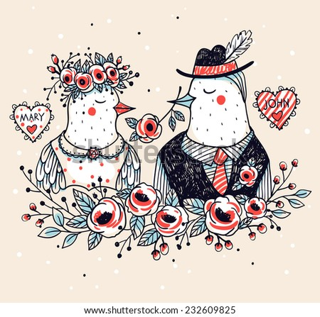 vector illustration of two cute birds for wedding designs - stock vector
