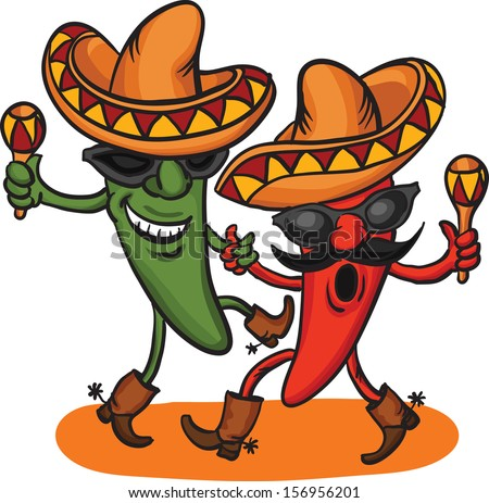 Vector illustration of two dancing cartoon mexican peppers. Easy-edit layered vector EPS10 file scalable to any size without quality loss. High resolution raster JPG file is included.  - stock vector