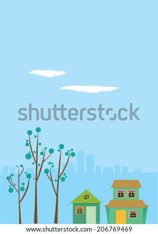 Vector Illustration of two detached houses with cityscape in the background - stock vector