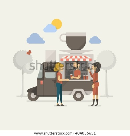 vector illustration of two girls having a coffee - stock vector