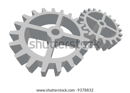 Vector illustration of two gray gears connected and working