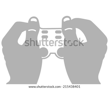 Vector illustration of two hands holding a video game joystick on white background - stock vector