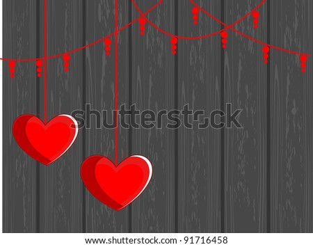 Vector illustration of two hanging hearts shape on grey wooden background for valentines Day - stock vector