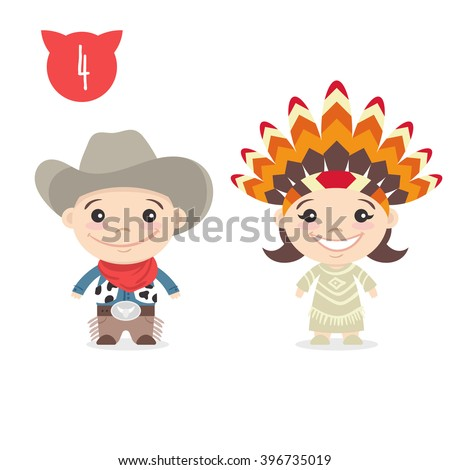 Vector illustration of two happy cute kids characters. Boy in cowboy costume and a girl in Indian Native American costume. - stock vector
