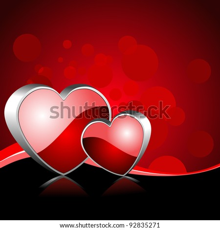 Vector illustration of two heart shapes frame with reflection on red color background for Valentines Day and other occasions. - stock vector