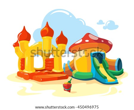 Vector illustration of two inflatable castles and children hills on playground. Pictures isolate on white background - stock vector