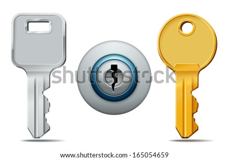 Vector illustration of two keys and keyhole icons - stock vector