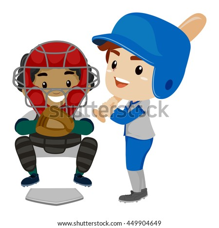 Vector Illustration of Two Kids as Baseball Player