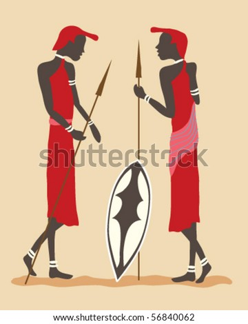 vector illustration of two masai warriors in traditional dress standing holding spears and a shield - stock vector