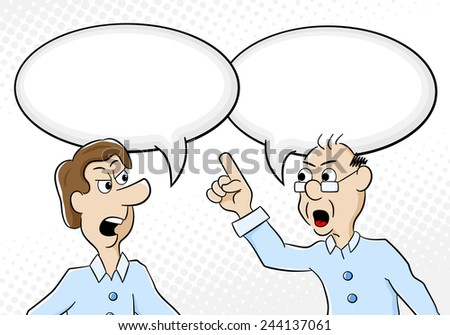 vector illustration of two men are of different opinion with empty speech bubbles - stock vector