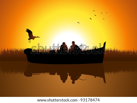 Vector illustration of two men silhouette fishing on the lake - stock vector