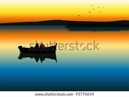 Vector illustration of two men silhouette fishing on tranquil lake - stock vector